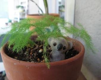 Fairy Garden, Adorable, Small Koala Bear, for Fairy Garden or For Your Miniature Collection. Small Ornament, Home and Garden Decor.