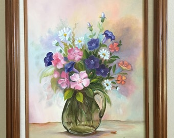 Original Oil Painting by E. Stoltz, Glass Pitcher with Flowers