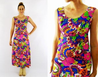 70's Psychedelic Floral Hawaiian Dress Size Small
