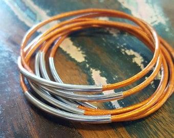 Orange Leather Cord Bangles, Orange Bangles with Silver Tube, Set of 7, Free Shipping