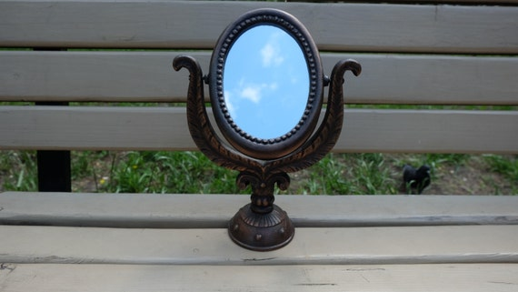 Items similar to vintage make up mirror metal framed for Small stand up mirror