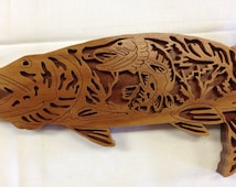 Nature's Majesty Muskie Plaque - Canarywood & Walnut