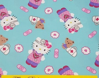 Hello Kitty Nurse Fabric-Fabric by the Yard