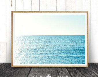 Beach Wall Art, Coastal Art Print, Modern Minimal Photography, Ocean Water, Printable Digital Instant Download, Blue Aqua