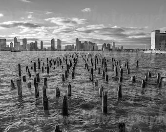 Dock Pilings Photography, Pier, New York Print, Black and White Art, New York City Photography, Manhattan Print, Living Room Decor, Wall Art