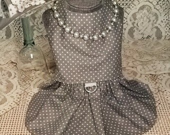 Gray Polka Dot Spring Dog Harness Dress with Matching Hat