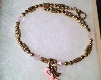 Breast Cancer Awareness Bracelet with Pink Ribbon Charm with Angel