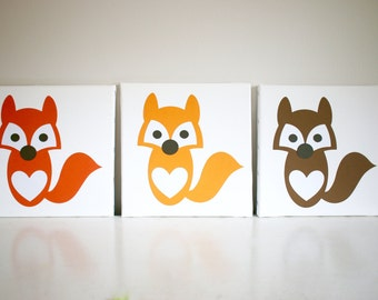 Fox Canvas Wall Art, Woodland Art, Woodland Canvas, Orange Fox, Brown Fox, Light Orange Fox, Wall Art