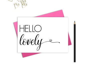Hello lovely note card, Thank you cards instant download, Greeting cards instant download, Hello lovely, Hello note cards