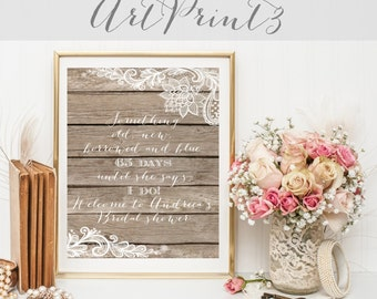Rustic Bridal Shower Sign, Lace Bridal Shower Sign Printable, Bridal Shower Countdown Sign Printable, Something Old New Borrowed Blue Sign
