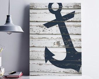 Nautical Anchor Print, Anchor Wood Texture, Blue Anchor, Nautical Wedding Decor, Navy Blue Anchor, Anchor Poster, Sea & Beach Wall Art