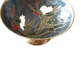 Hand Painted Brass Bowl on Pedestal