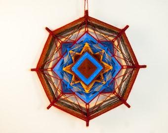Artisan yarn mandala ~ Brown, blue and yellow yarn mandala, handmade mandala ~ god's eye, ojos de dios, colorful mandala, eco style decor