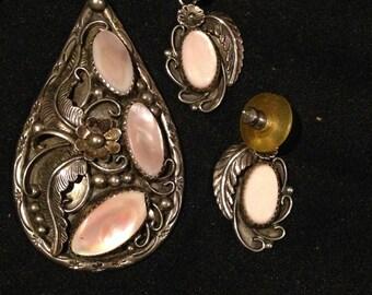 Vintage E Duggin Sterling Pink Mother of Pearl Sterling Necklace & Earring Set