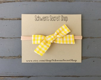 Yellow gingham bow, hand tied bow, baby girl headband, fabric bow headband, baby headband, baby girl bow, nylon headband, baby girl bow