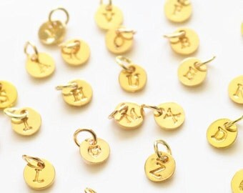 2 pcs mini gold plated alphabet charmsgold letter pendantalphabet pendant jewelry making
