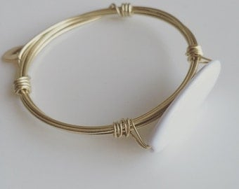 Kesa Bangle- Gold and White Stackable Bracelet