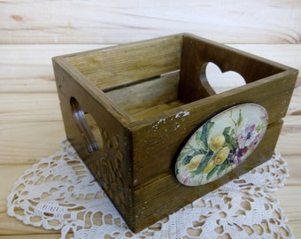 Mothers gift for mom Housewarming gift Rustic kitchen decor Farmhouse decor Wooden box Rustic storage box Country storage box wooden crates