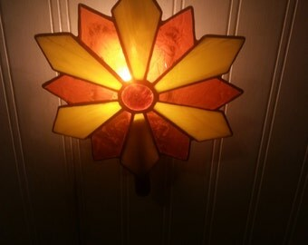 Stained Glass And Copper Flower Night Light
