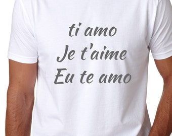 Ti amo men tshirt, Men tshirt, Te amo shirt, Graphic t-shirt, Je t'aime T-shirt, Graphic t shirt, Mens graphic tee, Eu te amo tshirt
