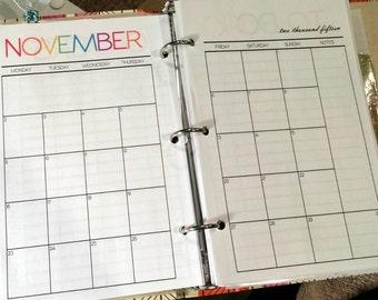 Printable A5 Calendar Pages