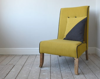 Mid-Century Style Re-Upholstered Mustard & Grey Chair + Free Scatter Cushion