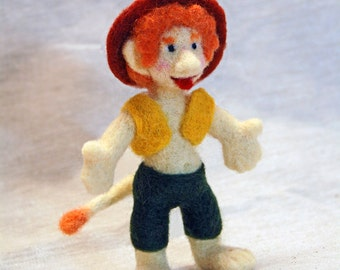 Needle felted cute little troll. Needle felted doll. Forest troll.