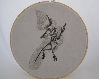 Archaeopteryx Fossil Embroidered Hoop Art