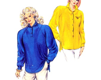 80's Kwik Sew 1644 Loose Fitting, Raglan Sleeved Top with Long Back and Side Slits, Uncut, Factory Folded, Sewing Pattern Size XS-L