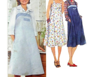 1978 Simplicity 8466 Sundress or Jumper with Shoulder Straps and Side Seam Pockets Sewing Pattern Size 12 Bust 34""