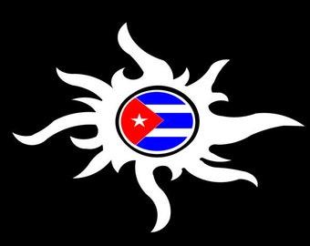 Tribal Sun Cuban Sticker