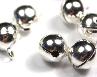 8mm Silver Jingle Bells - Silver Bells - Silver Plated Beads