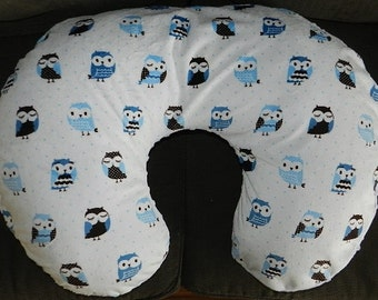 Minky Winter Owls Boppy Pillow Cover with Navy Minky,Slip Cover, Nursing Pillow Cover, Zipper for easy and off