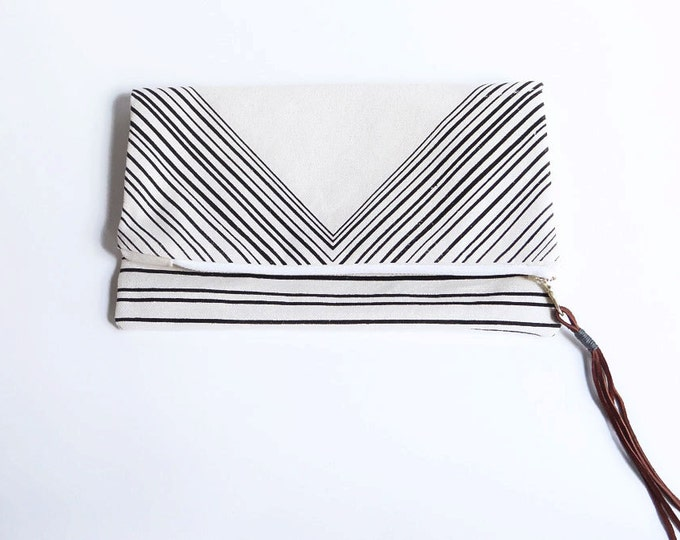Triangle Foldover Clutch - Natural