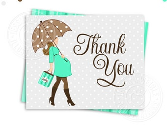 Baby Bump Gender Neutral TEAL and Gray - Brunette - Printable Baby Shower Thank You Card - Printable Thank You - Baby Shower Thank You