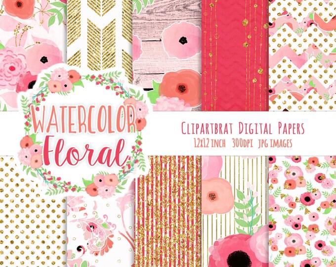 WATERCOLOR FLORAL Digital Paper Pack Blush Pink, Coral, Peach & Gold Metallic Commercial Use Digital Paper Wood Boho Wedding Digital Paper
