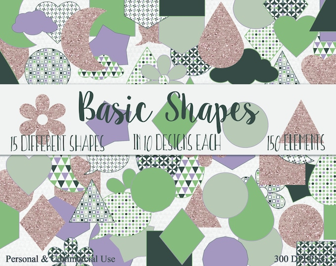 BASIC SHAPES Clip Art Commercial Use Clipart Purple Green & Rose Gold Circles Flowers Triangles Stars Planner Sticker Clipart Shape Graphics