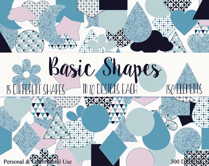 BASIC SHAPES Clip Art Commercial Use Clipart Black Mint & Pink Circles Flowers Triangles Stars Planner Sticker Clipart Shape Graphics