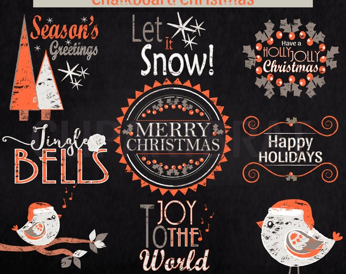 CHRISTMAS CLIPART Commercial Use Clip Art Christmas Chalkboard Word Art Trees Bird Holiday Digital Clip Art Orange Gray Chalk Board Clipart