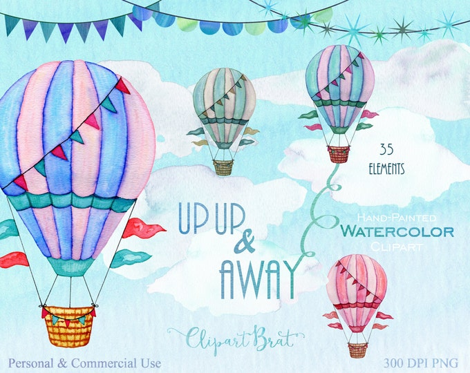 HOT AIR BALLOON Clipart Commercial Use Clipart Watercolor Hot Air Balloons Hand-Painted Wordart Banners Clouds & Watercolor Sky Backgrounds