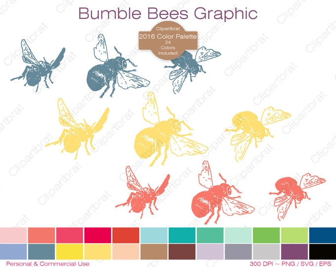 HONEY BEE Clipart Commercial Use Clipart Bumble Bee Graphic 2016 Color Palette 24 Color Bee Digital Sticker Insect Summer Bee Vector Png Svg