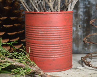 Distressed Red Tin Can | Rustic Wedding Decor | Country Primitive |