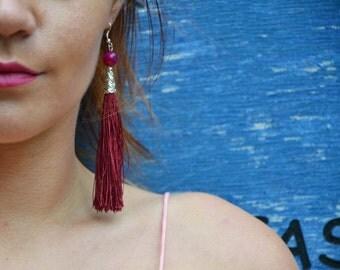 Tassel Earrings, Marsala earrings, Summer Jewelry