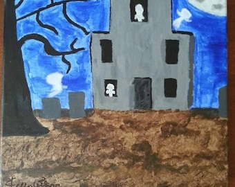 Haunted House with Cemetery Painting