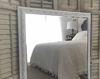 Extra Large Mirror White Distressed Mirror Decorative Mirror Large Bathroom Vanity Mirrors Custom French Shabby Chic Style