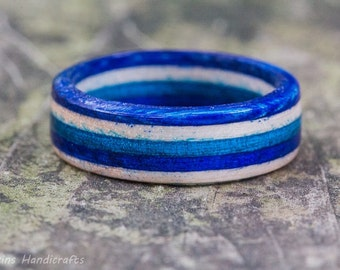 Blue White Wooden Ring - Mens Fashion Jewelry Womens Fashion Ring Wooden Ring Wedding Band Engagement Ring Wood Anniversary Striped Ring