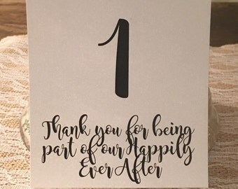 Table Card Numbers - Romantic