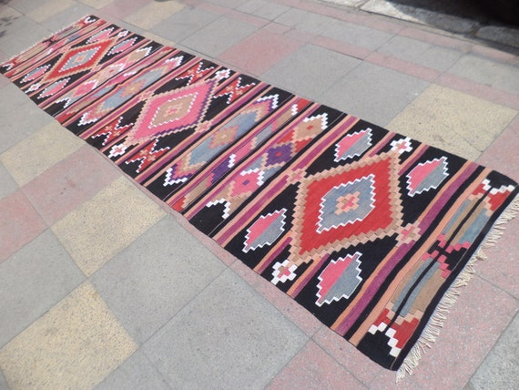 "VINTAGE Turkish Kilim Runner Rug,From Antalya Barak Kilim Runner Rug,Rugs,33,4"" X 135"""