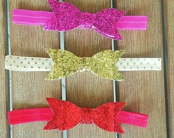 Glitter Bow Headbands - 3pk