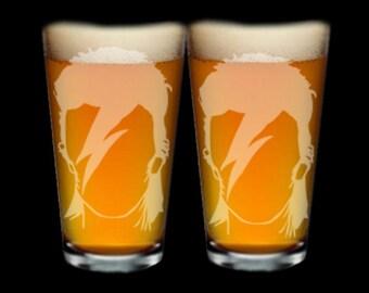 David Bowie Etch Glass- pint glass - beer mug - shot glass